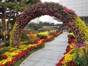 Postal: Bellas flores en un arco y a los lados del camino