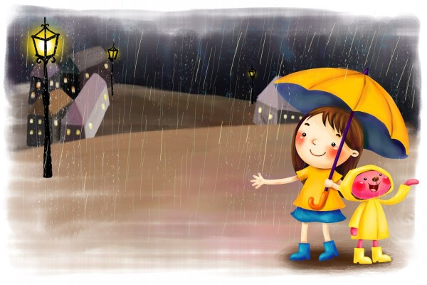 Amigos bajo la lluvia