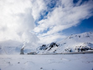 Postal: Chimeneas en un paraje nevado