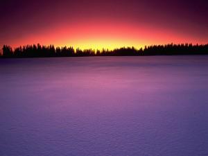Los colores del cielo iluminando la nieve