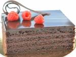 Pastel jugoso y brillante de chocolate