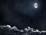 Estrellas rodeando a la luna