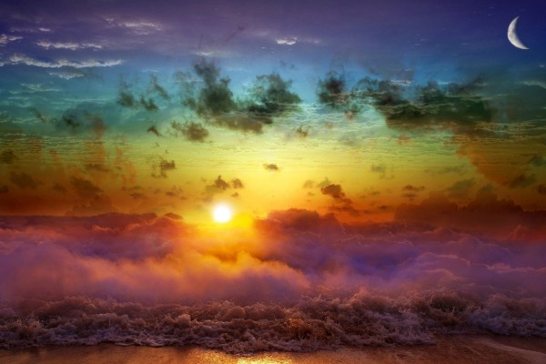 Luna, sol y mar