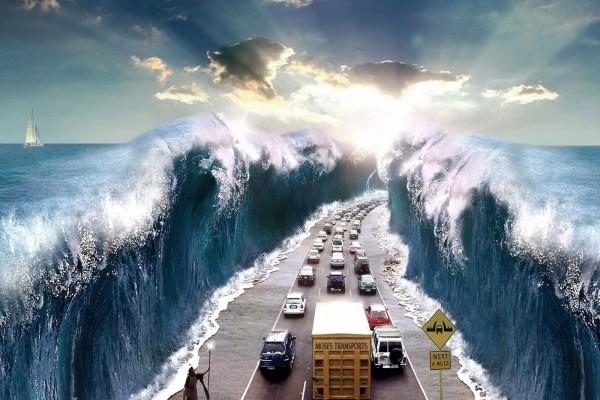 Carretera entre las aguas abiertas por Moisés