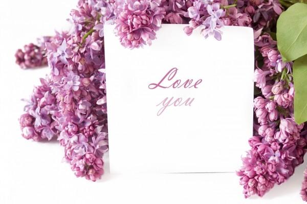 Mensaje de amor entre lilas