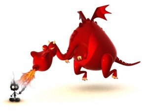 Dragón rojo chamuscando al hombrecillo