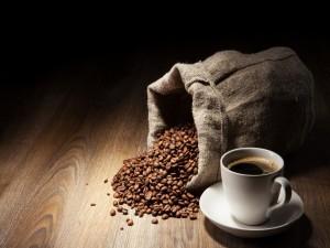 Granos de café y una taza