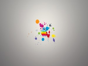 Postal: Apple y pintura de colores
