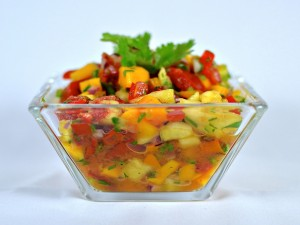 Frutas picadas con zumo de naranja