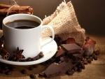 Taza de café acompañado de especias y chocolate