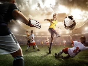 Postal: Partido de fútbol con jóvenes promesas