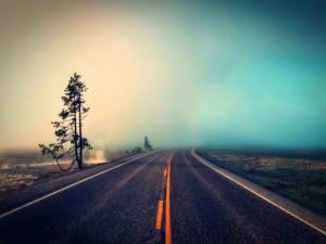 Postal: Banco de niebla en la carretera