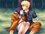 Naruto y Hinata junto a un árbol