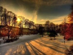 Postal: El sol de la tarde calentando la nieve