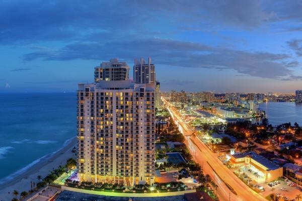 Panorama de la costa atlántica en Miami