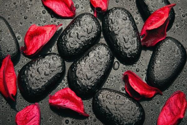Piedras con gotas y pétalos rojos
