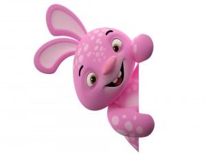 Lindo conejo rosa en 3D