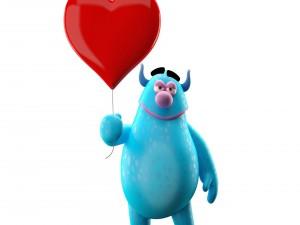 Alegre personaje en 3D con un corazón