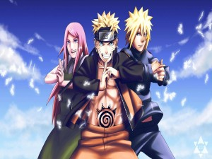 Postal: Naruto con sus padres Minato y Kushina