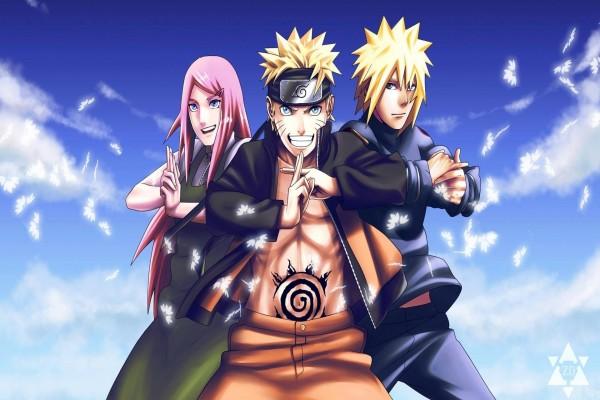 Naruto con sus padres Minato y Kushina