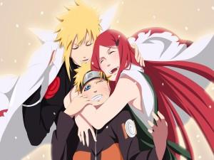 Naruto abrazado por sus padres