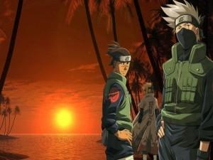 Kakashi Hatake acompañado en una playa (Naruto)