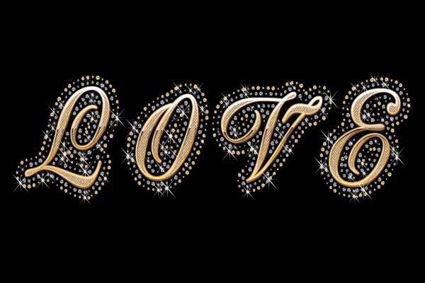 """Letras de la palabra """"Amor"""" en oro y diamantes"""