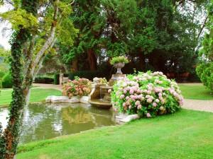 Postal: Fuente en el castillo de Laas (Francia)