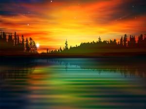 Postal: Nace el sol y se va reflejando en el agua