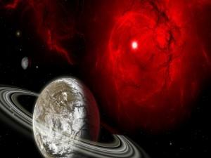 Postal: Planetas iluminados en el espacio