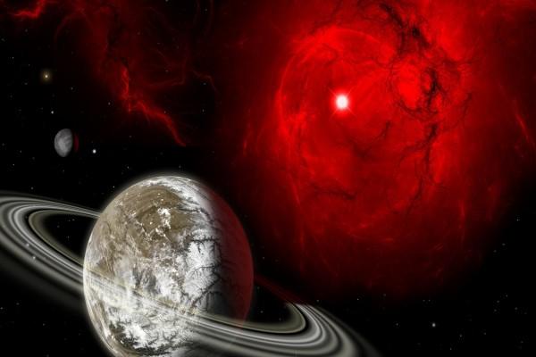 Planetas iluminados en el espacio