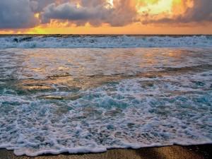 Postal: El agua del mar al atardecer