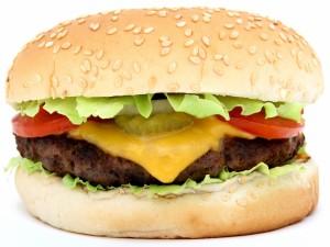 Hamburguesa con queso cheddar fundido
