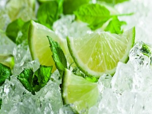 Rodajas de lima, hojas de menta y hielo