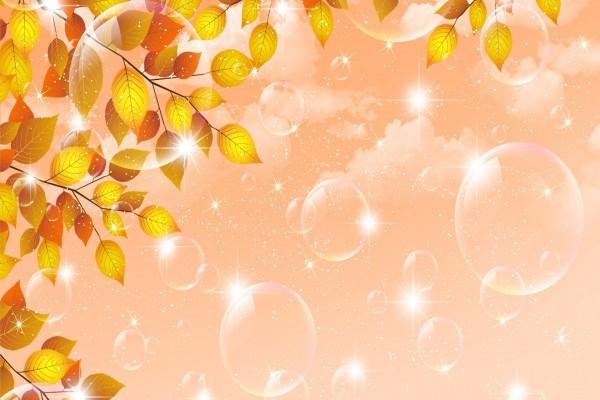 Burbujas y ramitas con hojas amarillas