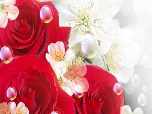 Flores cubiertas con burbujas
