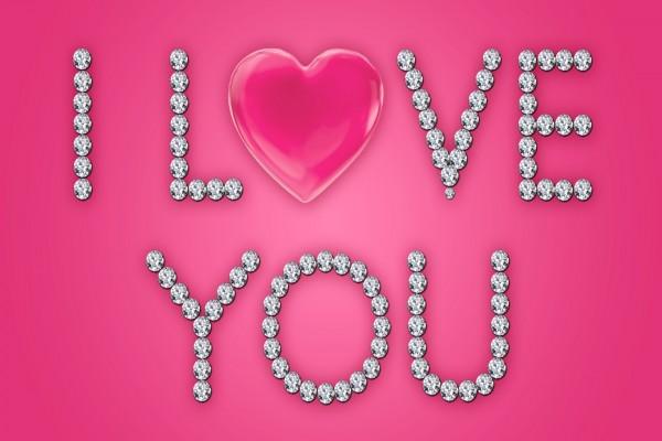 Mensaje de amor con brillantes
