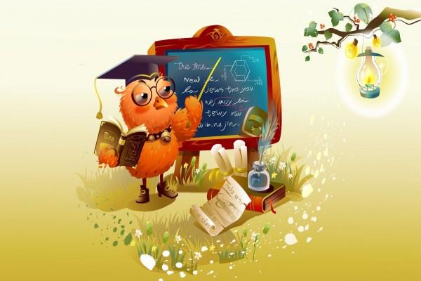 El maestro búho dando clases