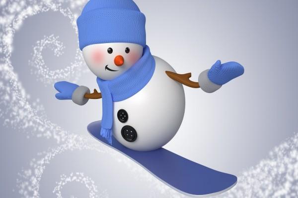 Muñeco de nieve practicando snowboard