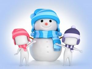 Postal: Muñeco de nieve y sus amigos