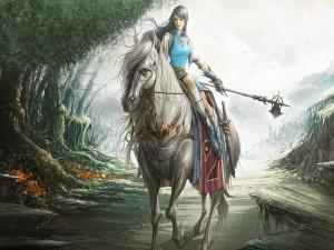 Postal: Joven guerrera sobre el caballo blanco
