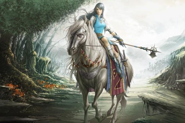 Joven guerrera sobre el caballo blanco