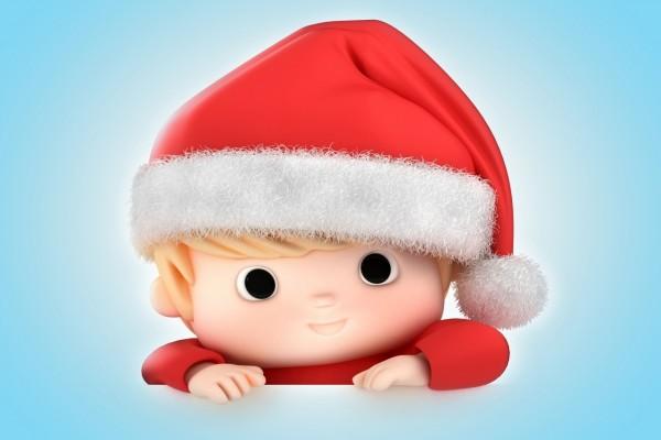 Bebé 3D vestido de Santa Claus