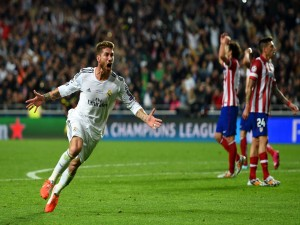Sergio Ramos celebrando el gol (final de la Champions League 2014)