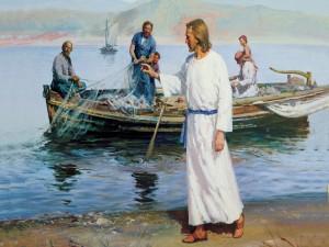 Jesús de Nazaret saludando a los pescadores