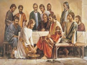 Jesús (Cristo) lavando los pies a los Apóstoles
