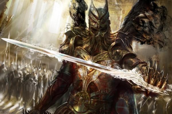 Guerrero fantástico con la espada mágica