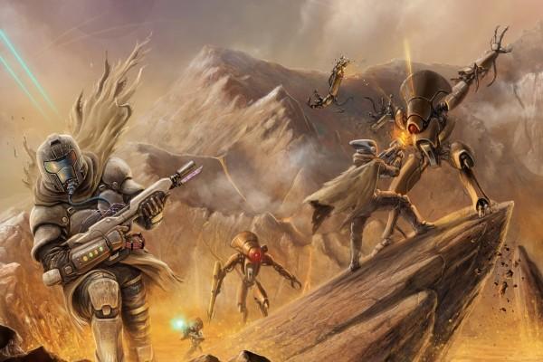 """Robots y soldados en las rocas """"Destiny"""""""