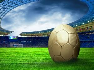 Postal: Balón de fútbol en el estadio