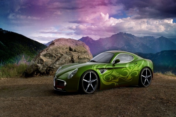 Coche con una bonita y original pintura verde